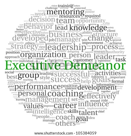 Executive Demeanor concept in word tag cloud on white background