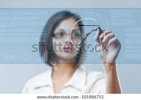 Executive drawing chart representing growth - stock photo