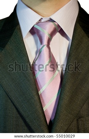 Executive dressed in business attire, pink silk tie and gray wool and silk suit - stock photo