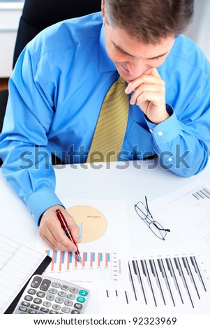 Executive handsome businessman. At a modern office. - stock photo
