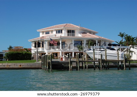 Executive home on the water in florida - stock photo