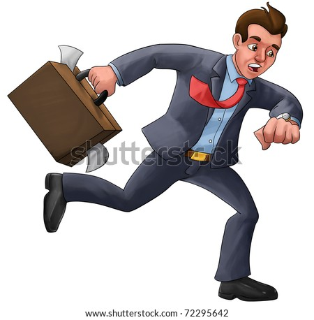 executive in a hurry late for his appointment with a mess suitcase - stock photo