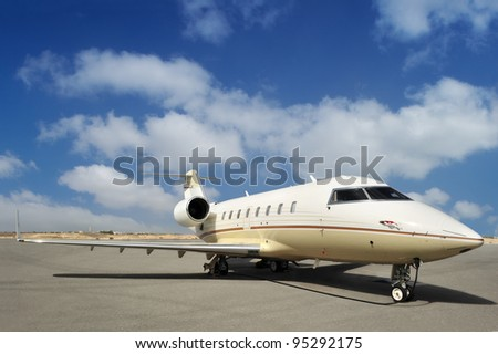 Executive Jet at the Airport - stock photo