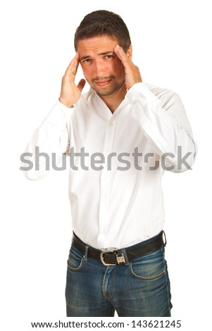 Executive man having head ache isolated on white background - stock photo