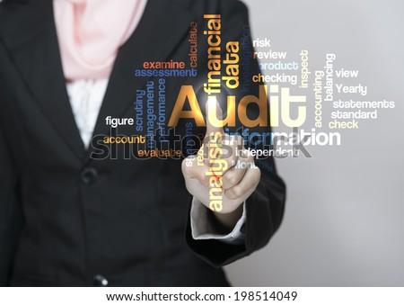 "Executive press virtual Screen-""Audit word cloud arrangement"" - stock photo"