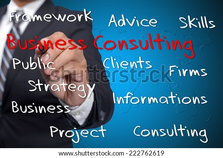 "Executive press virtual Screen-""Business Consulting word cloud arrangement"" - stock photo"
