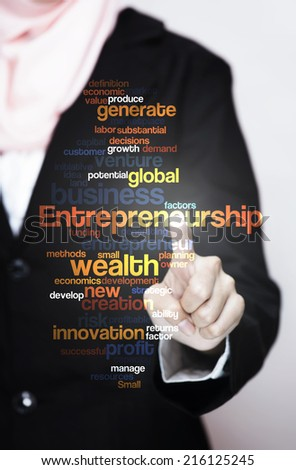 "Executive press virtual Screen-""Entrepreneurship word cloud arrangement"""