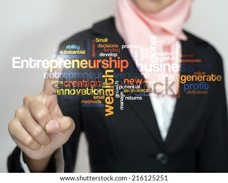 "Executive press virtual Screen-""Entrepreneurship word cloud arrangement"" - stock photo"
