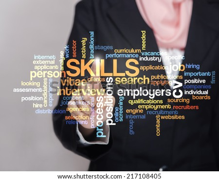 "Executive press virtual Screen-""SKILLS word cloud arrangement"" - stock photo"