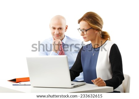 Executive sales team working at office, while using computer. Isolated on white background. - stock photo