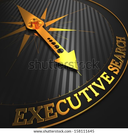 """Executive Search - Business Concept. Golden Compass Needle on a Black Field Pointing to the Word """"Executive Search"""". 3D Render. - stock photo"""