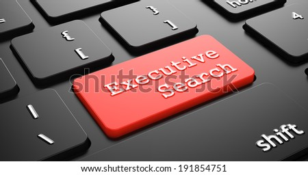 """Executive Search on Red Button """"Enter""""on Black Computer Keyboard. - stock photo"""