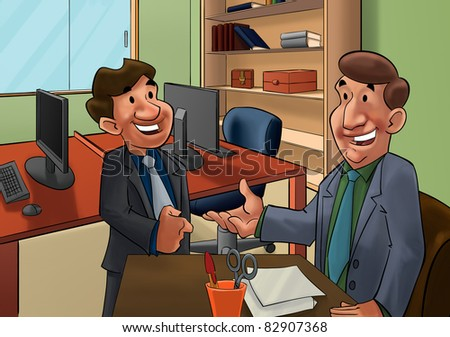 executive talking to a worker candidate - stock photo