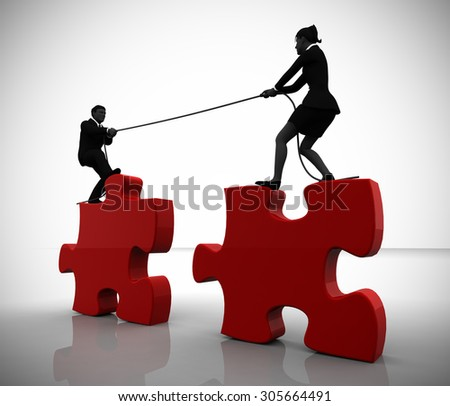 Executive team joining giant jigsaw puzzle pieces. Two executives joining giant jigsaw puzzle pieces by pulling a rope demonstrating teamwork and cooperation . - stock photo