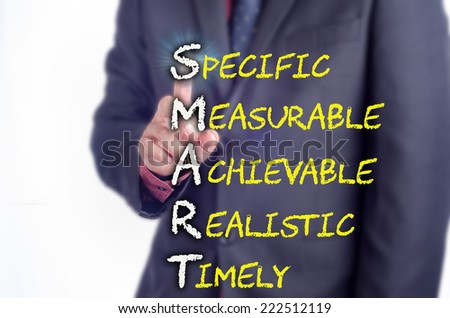 Executive touch the SMART acronym on the virtual screen: Business concept - stock photo