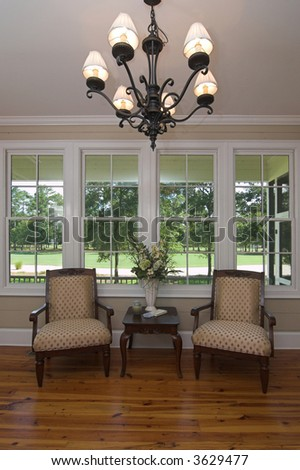 executive waiting room with view of golf course out the windows