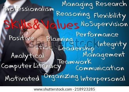 Executive with Skills and Values word cloud arrangement - stock photo