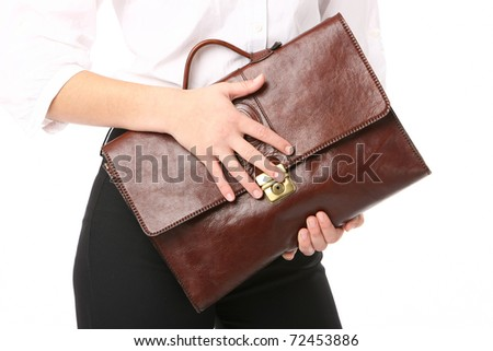 executive woman holding a bag