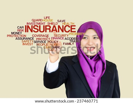 "Executive Woman press virtual Screen-""Insurance word cloud arrangement"" - stock photo"