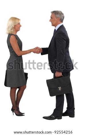 Executives shaking hands - stock photo
