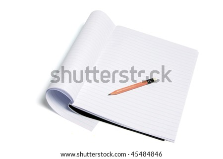 Exercise Book and Pencil on White Background - stock photo