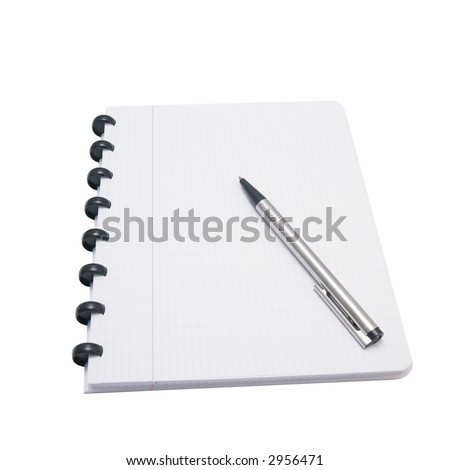 exercise book with pen