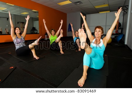exercise class at a gym - stock photo
