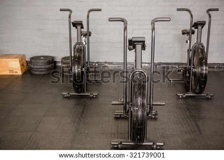 Exercise cycle and equipment at the gym