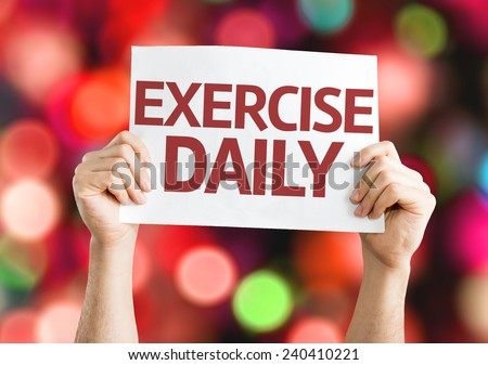 Exercise Daily card with colorful background with defocused lights - stock photo