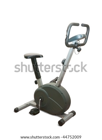 Exercise gym bike isolated on white with clipping path