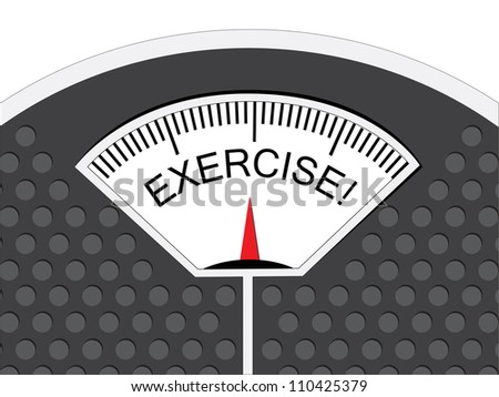 Exercise is indicated on the pointer on the analog weighing scale. - stock photo