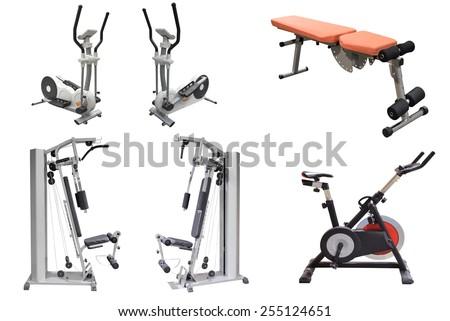 exercise machines isolated on white background - stock photo