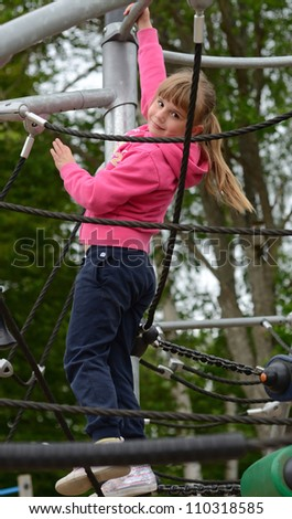 Exercise on playground lines - stock photo