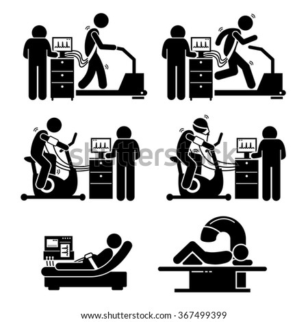Exercise Stress Test for Heart Disease Stick Figure Pictogram Icons