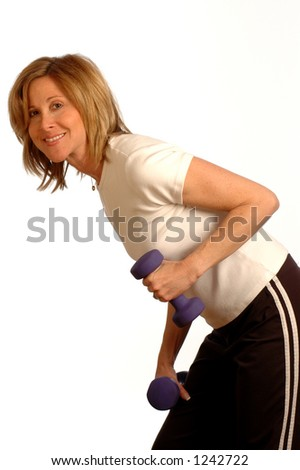 exercise time with dumbbells - stock photo