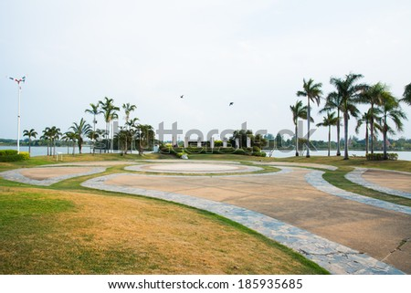 Exercise yard in the park - stock photo