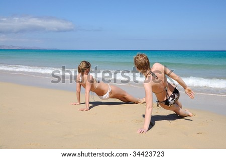 Exercises on the beach. Canary Island Fuerteventura, Spain - stock photo