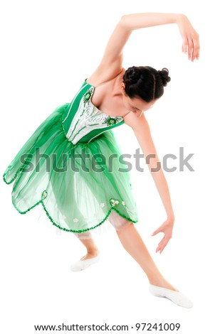 Exercising ballerina in green dress isolated on white background - stock photo