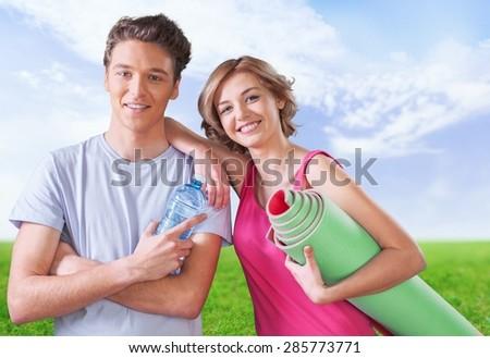 Exercising, Couple, Healthy Lifestyle. - stock photo