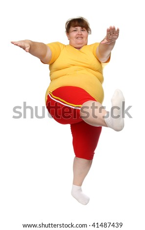 exercising overweight woman isolated on white - stock photo