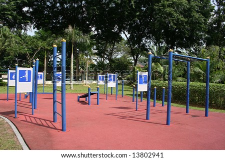 Exercising setup at the park on sunny day