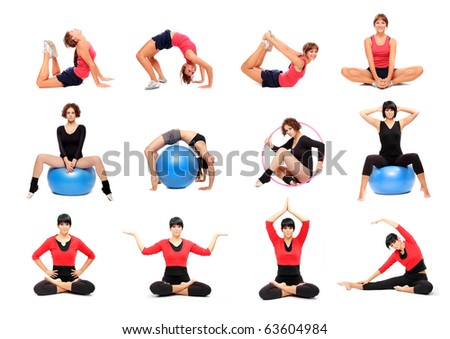 Exercising young women in different position. Active lifestyle. - stock photo