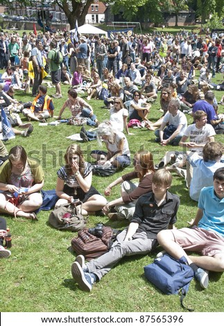 EXETER - JUNE 30: Roughly 800 people gathered at Belmont Park during the rally and march in Exeter during the June 30 national strike and rally in Exeter City centre on June 30, 2011 in Exeter.