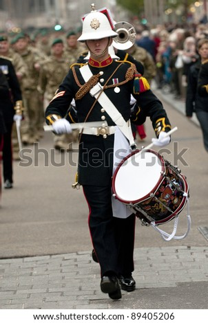 EXETER - NOVEMBER 16: Drummer from the marching performing at the homecoming parade of 3 Commando Brigade on November 16 in Exeter, England