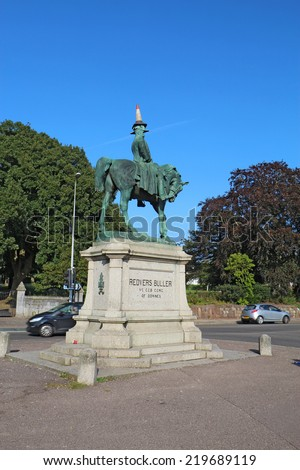 EXETER, UK - SEPTEMBER 12 2014: Equestrian statue of Redvers Buller by sculptor Adrian Jones in 1905 decorated with a traffic cone by students on the first day of classes at the University of Exeter.