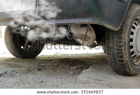 exhaust pipe of an old car