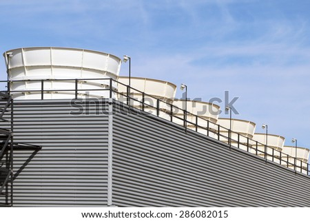 Exhaust stacks from an industrial power plant. - stock photo