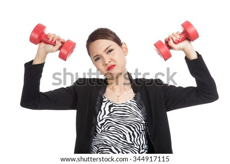 Exhausted Asian business woman with dumbbells  isolated on white background