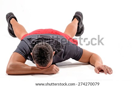 Exhausted athletic man on white background.Crying man isolated on White background. - stock photo