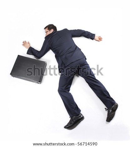 Exhausted business man on white background. - stock photo